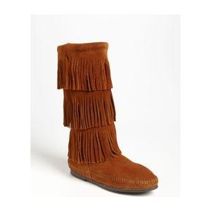 Minnetonka | suede 3 tier fringe mocassin boots